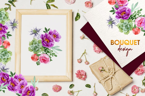Bouquet with burgundy peonies Watercolor png Digital