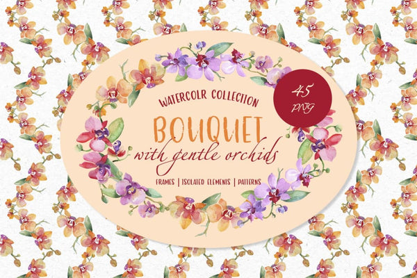 Bouquet with gentle orchids Watercolor png Digital