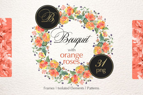 Bouquet with orange roses Watercolor png Digital