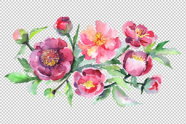 Bouquet with pink peonies Watercolor png Flower