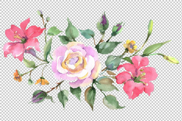 Bouquet with pink rose Watercolor png Flower