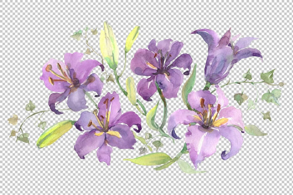 Bouquet with purple lilies Watercolor png Flower