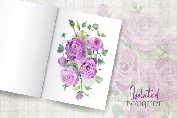 Bouquet with purple roses Watercolor png