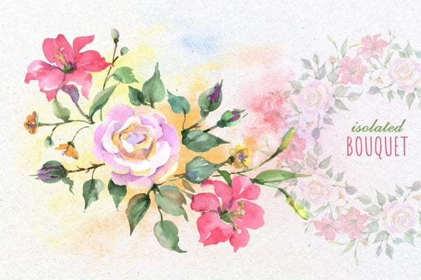 Bouquet with roses Dreams Comes True Watercolor png Digital