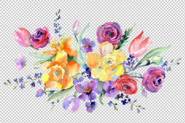 Bouquet with roses floral lace watercolor png Flower