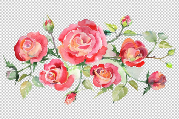 Bouquet with roses red Watercolor png Flower