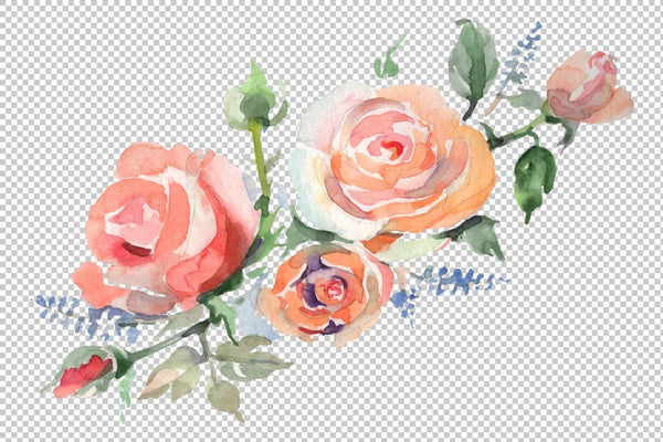 Bouquet with roses romance watercolor png Flower