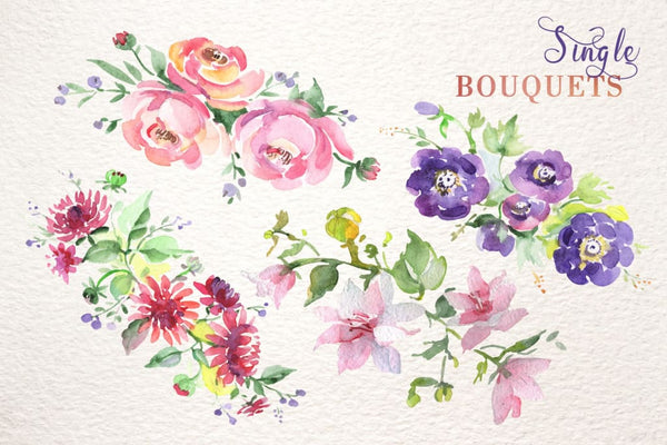 Bouquet with wildflowers set Watercolor png Digital