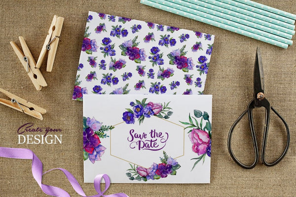 Bouquets of purple flowers Watercolor PNG Digital