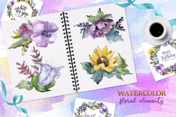 Bouquets peony flax Watercolor png Digital