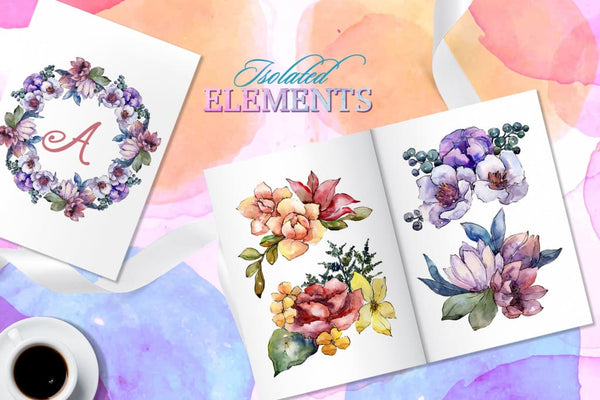 Bouquets Surprise Watercolor png Digital