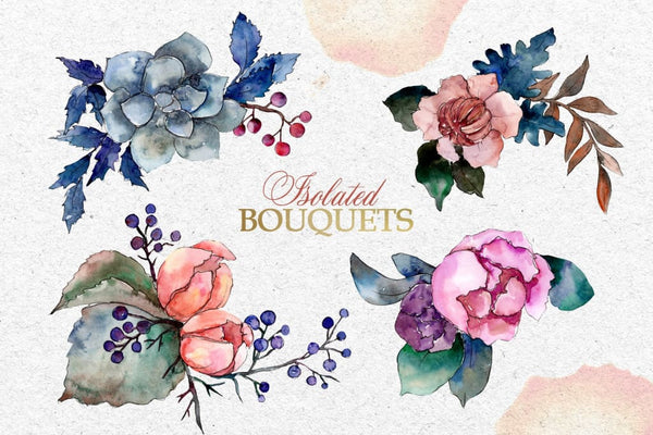 Bouquets Vintage flower Watercolor png Digital