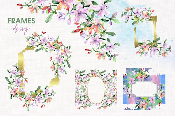 Bouquets with alstroemeria Watercolor png Digital