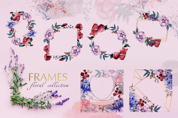 Bouquets with flowers Watercolor png Digital