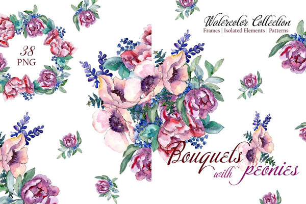 Bouquets with peonies Phuket Watercolor png Digital