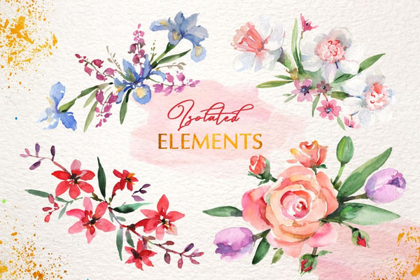 Bouquets with roses and narcissus pink watercolor png Digital