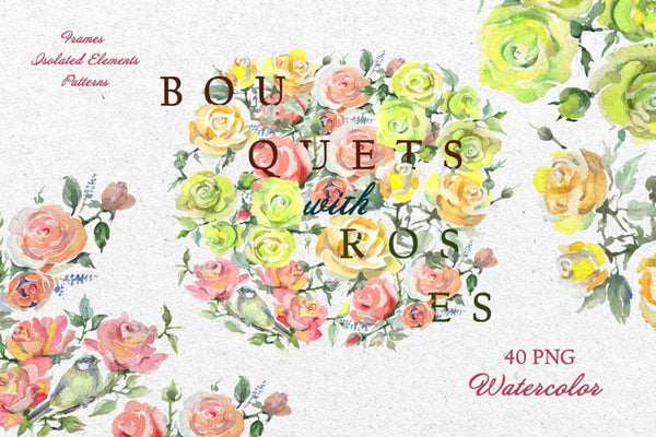 Bouquets with roses Yellow Watercolor png Digital