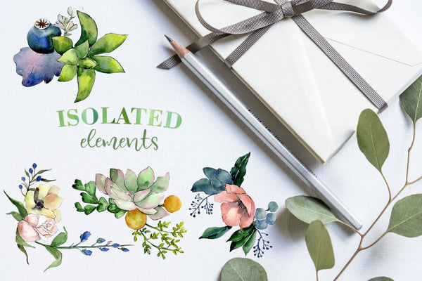 Bouquets with succulents Watercolor png Digital
