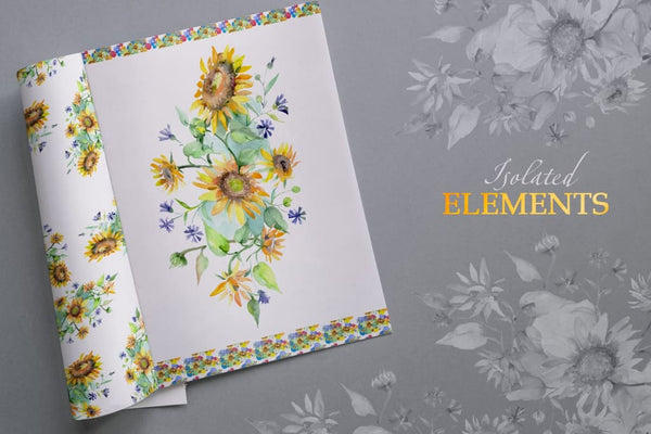 Bouquets with sunflowers Watercolor png Digital