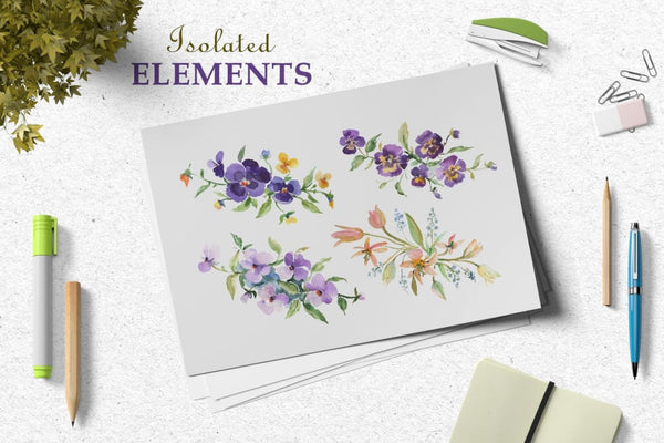 Bouquets with violas and wildflowers Watercolor png Digital