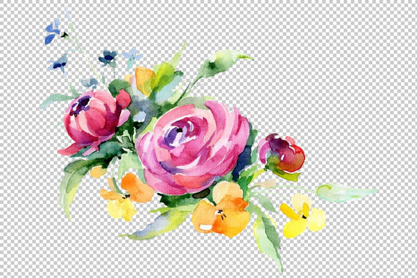 Bouquets with violas roses Watercolor png Flower