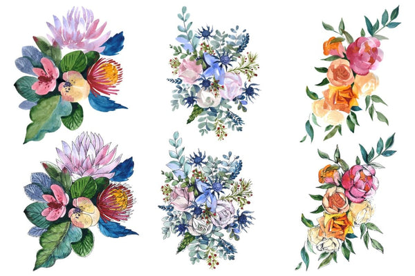 Bouquets with wildflowers Roses leaves Watercolor png Flower