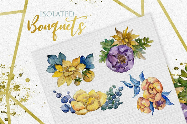 Bouquets Yellow Watercolor png Digital