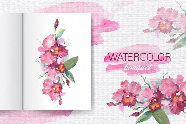 Branch of pink orchids Watercolor png Digital