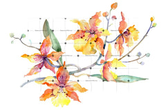 Branch Of Yellow Orchids Watercolor Png Flower