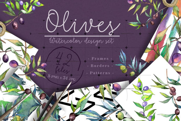 Branches Of An Olive Tree Png Watercolor Set Digital