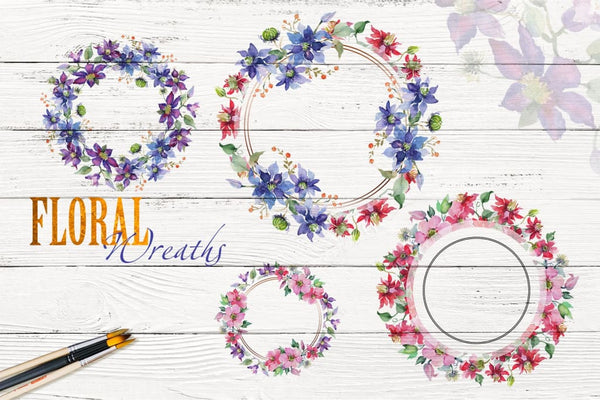 Bright Bouquets Watercolor png Digital