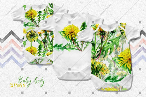 Hichtepierre Gelb Dandelion Png Watercolor Set Digital