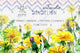 Bright yellow dandelion PNG watercolor set