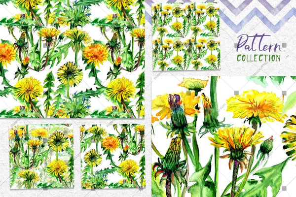 Bright Yellow Dandelion Png Watercolor Set Digital
