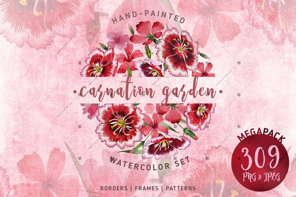 Taman Carnation Png Watercolor Set Digital