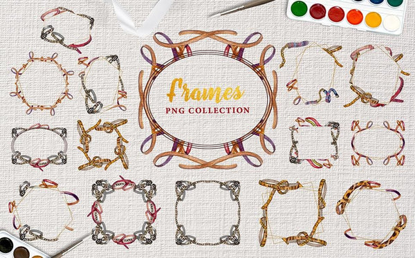 Chains leather belts Watercolor png Digital