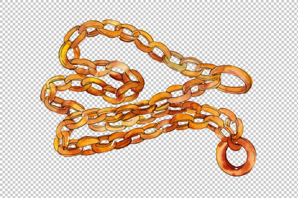 Chains leather belts Watercolor png Flower