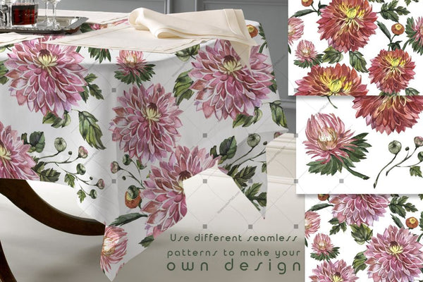 Charming Asters Png Watercolor Set Digital