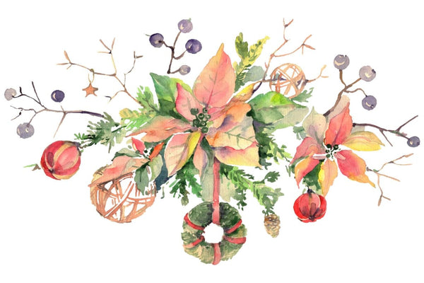 Christmas bouquet freezing day Watercolor png Flower