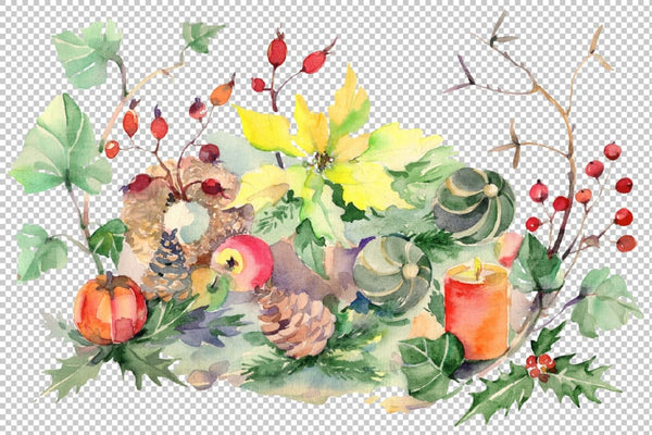Christmas bouquet snowstorm Watercolor png Flower