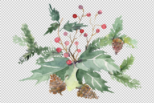 Christmas bouquet warmth of the soul Watercolor png Flower