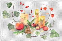 Christmas ծաղկեփնջեր Watercolor png Digital