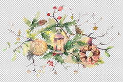 Christmas bouquet Watercolor png Flower