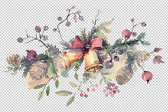Christmas bouquet Winter joy Watercolor png Flower
