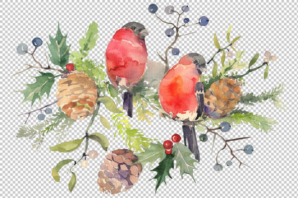 Christmas bouquet with bullfinch Watercolor png Digital