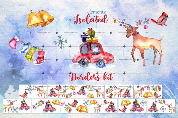 Christmas Collection Png Watercolor Design Set Digital