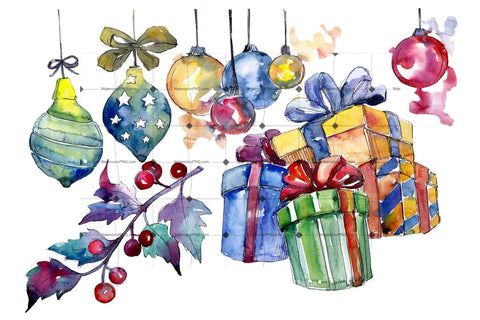 Christmas Gift Png Watercolor Set Digital