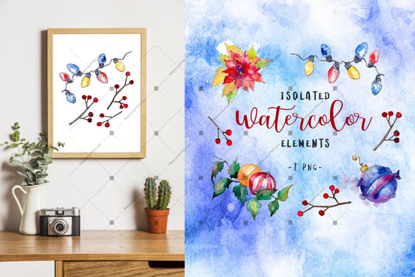 Christmas Happy Holiday Png Watercolor Set Digital