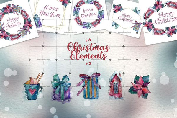 Christmas Time Png Watercolor Set Digital