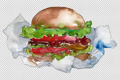 City Hamburger Watercolor png Flower